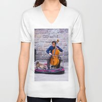 cello V-neck T-shirts featuring Cello by Fernando Derkoski