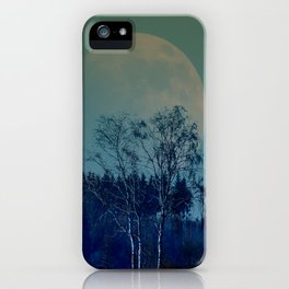 Concept landscape : Moon behind the tree iPhone Case