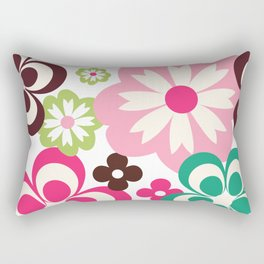 Big And Small Abstract Colorful Flowers Pattern Rectangular Pillow