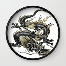 Lucky Chinese Dragon In Grey and Gold Wall Clock