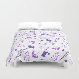 Violet lilac hand painted watercolor berries floral Duvet Cover