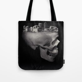 Urban Skull Horror Black and White City Tote Bag