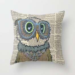 Owl wearing glasses Throw Pillow