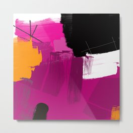 Purple abstract painting F06 pink black orange Digital painting Metal Print