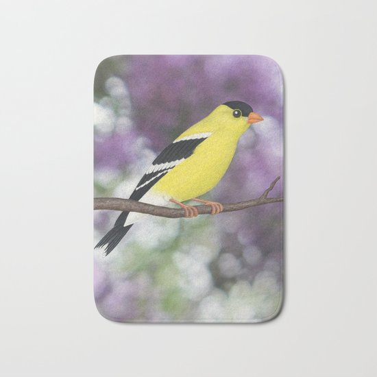 American goldfinch male bokeh Bath Mat