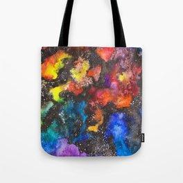 Rainbow Psychedelic Neon Watercolor Galaxy Painting by Imaginarium Creative Studios Tote Bag