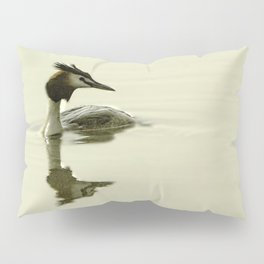 Photograph of a Grebe reflecting in the water Pillow Sham