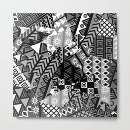 Black and white patchwork background with african motifs Metal Print