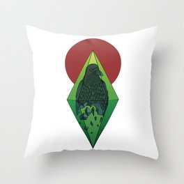 Geometric Crow in a diamond (tattoo style - color version) Throw Pillow