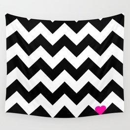 Heart & Chevron - Black/Pink Wall Tapestry