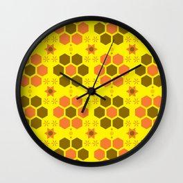 retro beehive pattern Wall Clock