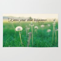 jane austen Area & Throw Rugs featuring Happiness Jane Austen by KimberosePhotography