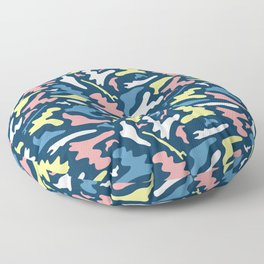 Memphis Style Camouflage Shapes Seamless Vector Pattern, Drawn Floor Pillow