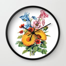 Two Large Daisy's, Antique Heirloom Flower Bouquet Original Aquatint Watercolor PNG 7 Wall Clock
