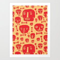 Skulls & Bones - Red/Yellow Art Print