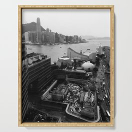 Hong Kong City Bay Black & White Monochrome Photography Art Print Serving Tray