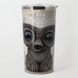 Cute Nerdy Honey Badger Wearing Glasses Travel Mug