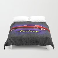 ford Duvet Covers featuring Vintage Ford Mustang by Alan Hogan