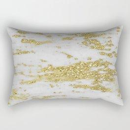 Marble - Glittery Gold Marble on White Design Rectangular Pillow