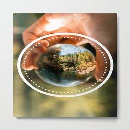 Nature Globe in Human Hand Metal Print