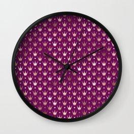 Purple & Rose Gold Crown Pattern Wall Clock