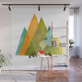 House at the foot of the mountains Wall Mural