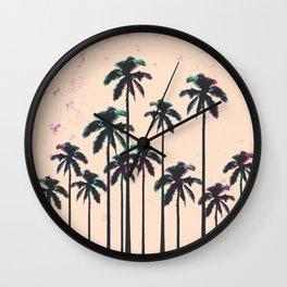 Neon Lined Black Palm Trees on Peach Horizon Wall Clock