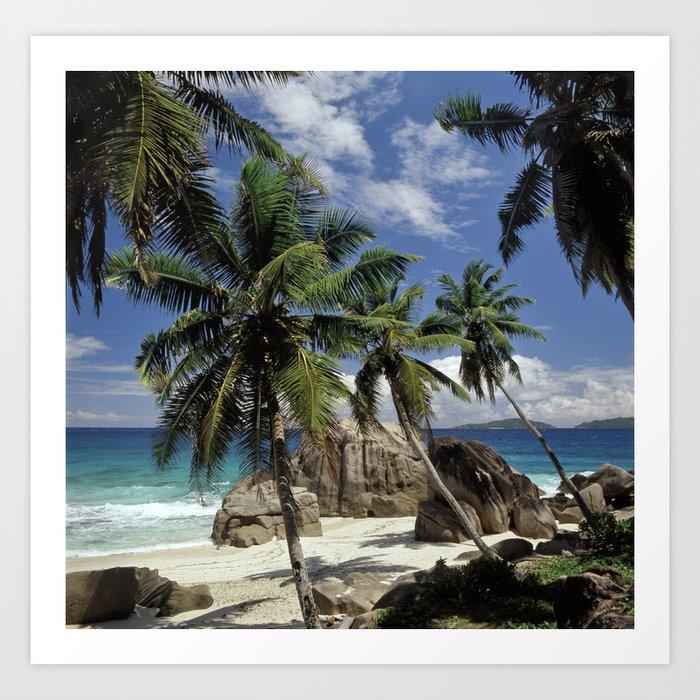 Seychelles Island Beaches: A Small Beach On La Digue Island, The Seychelles Art Print