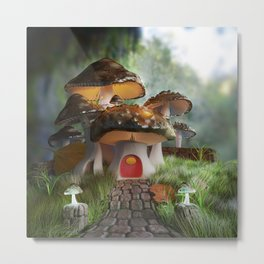 Fairy-Tale Mushroom Mansion Metal Print