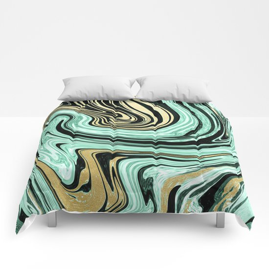 MARBELLOUS IN MINT AND GOLD Comforters