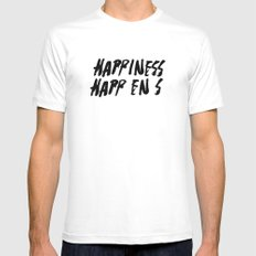 HAPPINESS HAPPENS Mens Fitted Tee MEDIUM White