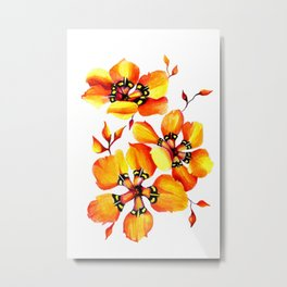 Watercolor Sparaxis Elegans South African Floral Pattern Metal Print