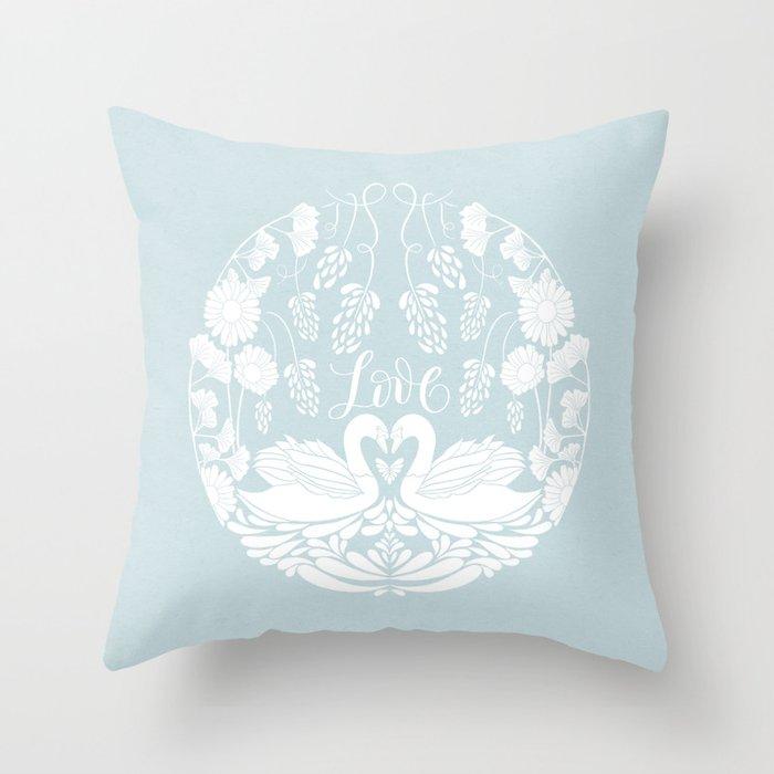 Folk Art - Lovely Swans in Love on the Lake   Throw Pillow