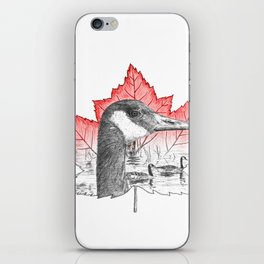 Canada Goose on Maple Leaf (with some red) iPhone Skin