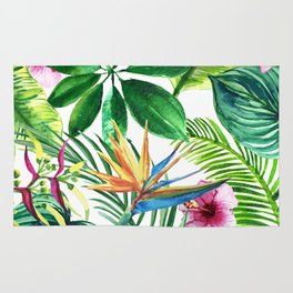 background of tropical leaves and palm flowers watercolor illustration Rug