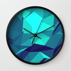 Blue Geometric Triangles Wall Clock