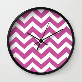 Mulberry (Crayola) - violet color - Zigzag Chevron Pattern Wall Clock