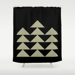 Geometric Christmas Tree - Black Gold Shower Curtain