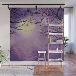 Haunted Moonlight Kitschy Halloween Spooky Watercolor Wall Mural