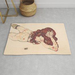 """Egon Schiele """"Auf dem Bauch liegender weiblicher Akt"""" Rug"""