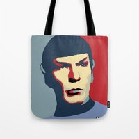 spock Tote Bags featuring Spock by Blueshift