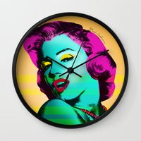 marilyn Wall Clocks featuring Marilyn by mark ashkenazi