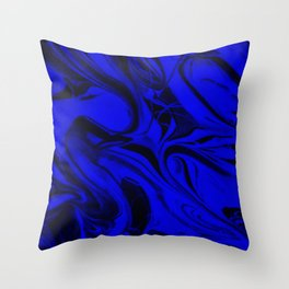 Black and Blue Swirl - Abstract, blue and black mixed paint pattern texture Throw Pillow