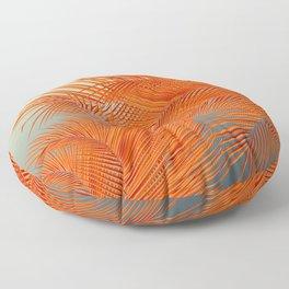Palm Leaves, Orange Floor Pillow