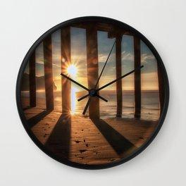 Through the Blinds sun bursts through Avila Pier Avila Beach California Wall Clock