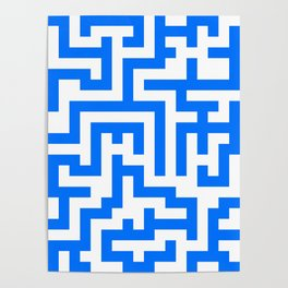 White and Brandeis Blue Labyrinth Poster