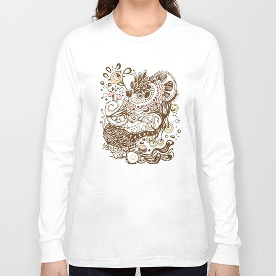 Zentangle green flower roots doodle Long Sleeve T-shirt