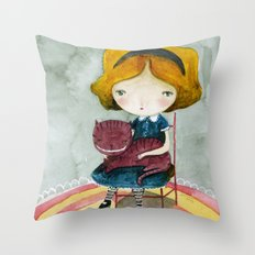 Alice In Watercolorland Throw Pillow