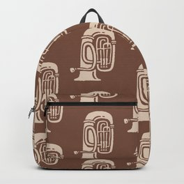Tuba Pattern Brown and beige Backpack