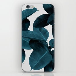 Indigo Blue Plant Leaves iPhone Skin